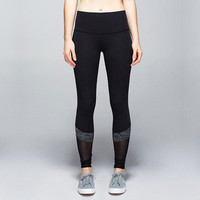 Women See-Through Mesh Slim Fit Sport Suit Fitness Professional Sportswear Stretch Exercise Yoga  Trousers Pants Legging _ 6887