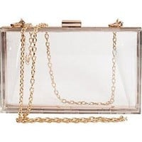 Cleo Transparent Box Clutch Acrylic Cross Body Purse