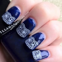 White Lace Nail Art Water Transfer Decal