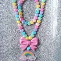 Sweet Skies - Pastel Happy Rainbow and Hearts Necklace with Matching Stretch Bracelet from On Secret Wings