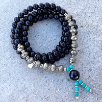 "Onyx, Pyrite and Turquoise ""Confidence"" 108 Bead Wrap Mala"