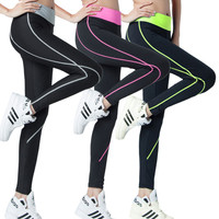 Yoga Color High-elastic Running Sports Pressure Line Training Tight Pant Gym Fitness Workout Leggings Jogging Trouser
