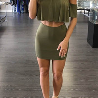 Green Off-Shoulder Flounced Crop Top and Mini Skirt