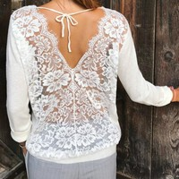 Lace Backless Women's T-Shirts 2018 Solid Sexy Casual Shirts Tops Femme Long Sleeve Women O-Neck Tee Top Plus Size Tshirt GV322