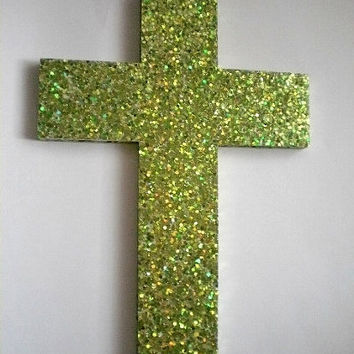 CITRON GLITTER CROSS - Large Decorative Wall Cross w/ Sparkling Bright Citron Green/Lemon-Lime Glitter Surface - 12.5 x 9