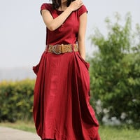 Red Linen Summer Dress - Fit & Flare Style Large Pockets and Asymmetrical Hemline Fitted Waist with Belt Loops C255