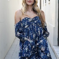 Take You With Me Navy Off Shoulder Flower Print Mini Dress