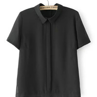 Lapel Collared Short Sleeve Blouse
