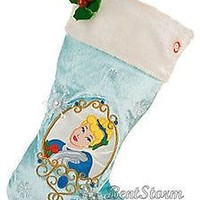 Licensed cool Disney Store Designer Princess CINDERELLA Musical Animated Christmas Stocking