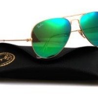 Ray Ban RB 3025 Metal Aviator 112/17 Matte Gold Sunglasses Blue Mirror 58mm Lens