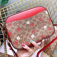 COACH New fashion pattern apple print leather shoulder bag crossbody bag women