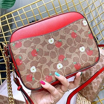 Hipgirls COACH New fashion pattern apple print leather shoulder bag crossbody bag women