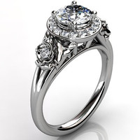 14k white gold diamond unusual unique floral engagement ring, bridal ring, wedding ring, anniversary ring ER-1098-1