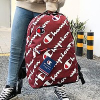 Champion New more letter print couple high capacity backpack bag Red
