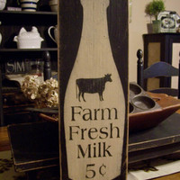 Farm Fresh Milk, Primitive Wood Sign, Milk Sign, Kitchen Sign, Country Kitchen Decor, Rustic Wood Sign, Hand Painted, Cow Decor