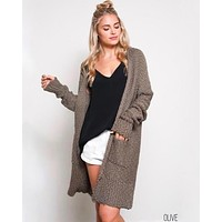 Open Front Longline Cardigan in Olive