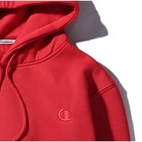 Champion autumn and winter small logo embroidered men and women hoodie hooded sweater coat Red