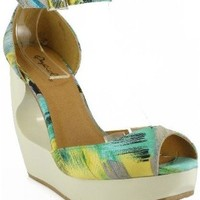 Qupid Lisbeth-25 Open Toe Fabric Ankle Strap Cut Out Wedge YELLOW MULTI