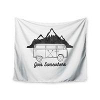 "Draper ""Going Somewhere A"" White Typography Wall Tapestry"