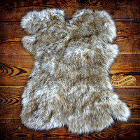 Shag Rug Sheepskin Gray Wolf Skin Fox  Faux Fur Pelt Bear Fake Hide Carpet by Fur Accents