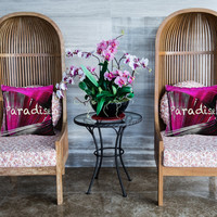 "Beautiful Pink & Black Palm Frond Parrot Feather Paradise Pillow Case/ Cover 18"" x 18"""