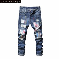 Mens Light Blue Skinny Ripped Jeans Straight American Flag Pattern Patched Slim Fit Denim Pants for Men Trouser