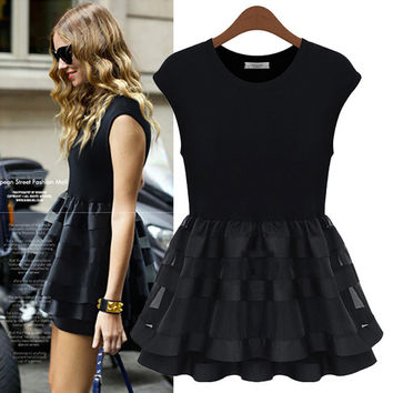 Mesh Cap Sleeve A-Line Layered Skater Dress
