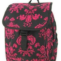 Amazon.com: Cute! Black and Pink Damask Print Medium Backpack Purse School Gym Diaper Bag: Clothing