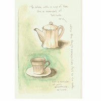 """Tea for One, Original Watercolor with graphite 6""""x9"""""""