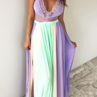 Purple Color Block Pleated Flowy Chiffon High Waisted Bohemian Party Skirt
