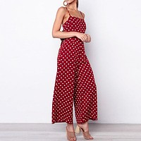 Casual Spaghetti Strap Wide Leg Jumpsuit Polka Dot High Waist Long Rompers Sexy Backless Plus Size Jumpsuit