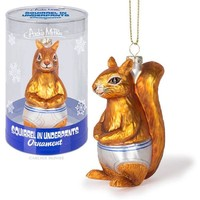 Squirrel in Underpants Ornament in Hand-Blown Glass