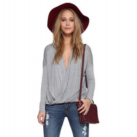 Grey Deep V-neck Long Sleeve Wrapped Blouse