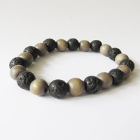 Lava Stone and Wooden 8mm Stretch Bracelet - Rock jewelry - Handmade Lava jewelry - Simple Handmade Jewelry