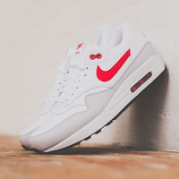 Nike Air Max 1 Leather White/University Red | SWGNT