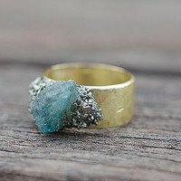 Raw Stones Gold Ring Pyrite and Blue Apatite Crystal size 6 Raw brass ring base Boho Bohemian Chic Style