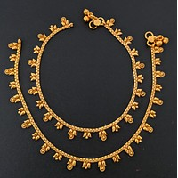 Traditional dual mango design gold imitation anklets