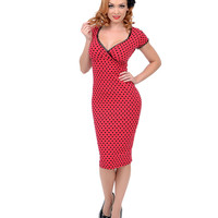 Black & Red Polka Dot Annabella Wiggle Dress
