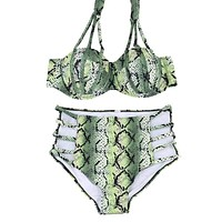 swimsuit Bikini high waist underwire snakeskin printed