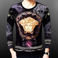 Versace New fashion human head print long sleeve sweater men