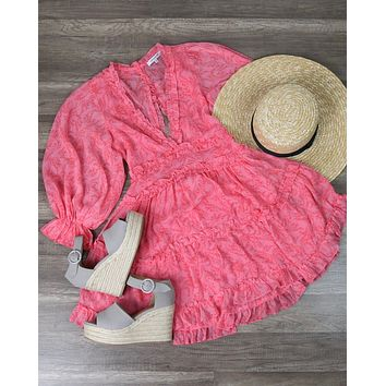 Pink Floral Ruffled Dress