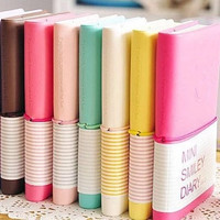 Mini Smiley Diary Notebook Memo Book leather Note Pads Stationery Pocketbook = 1931965764