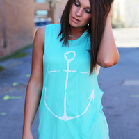 Anchor Muscle Tank {Mint}