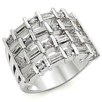 Rings For Sale 1W024 Rhodium Brass Ring with AAA Grade CZ