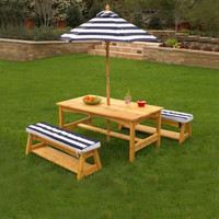 Outdoor Table & Bench Set with Cushions/Umbrella