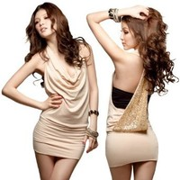 LOCOMOLIFE Sexy Halter Cowl Neck Open Sequin Back Sleeveless Mini Dress Cocktail Party Clubwear FFD006BEI One Size Beige