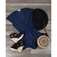 Final Sale - Lioness - Pur-Suede Me With Ruffle Hem Romper in Navy Suede