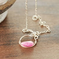 October Jewelry Pink Sapphire Nugget Gold Pendant Necklace, September Birthstone, Precious Gemstone Sapphire Jewelry