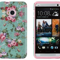 DandyCase 2in1 Hybrid High Impact Hard Vintage Sea Green Floral Pattern + Pink Silicone Case Cover For HTC One M7 4G LTE + DandyCase Screen Cleaner