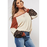 Mirror Image Color Block Top (Rust/Taupe)